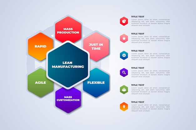 Farbige fertigungs-infografik-vorlage