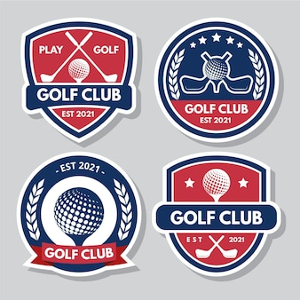 Farbige flache design golf logo kollektion