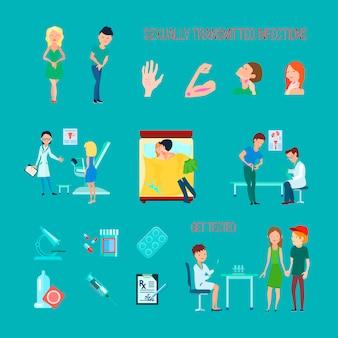 Farbige flache und lokalisierte ikonen der sexuellen gesundheitskrankheiten stellten mit verschiedenen infektionssymptomen ein