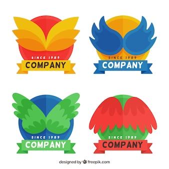Farbige flügel logos in flachen design