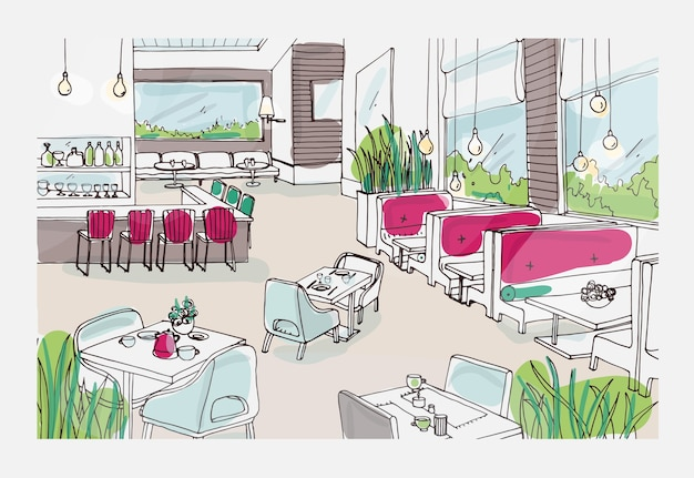 Farbige freihandskizze des möblierten interieurs eines schicken restaurants oder bistros. bunte zeichnung des modernen geräumigen cafés oder des kaffeehauses voller stilvoller möbel. hand gezeichnete illustration.