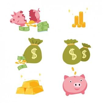 Farbige geld elemente designs