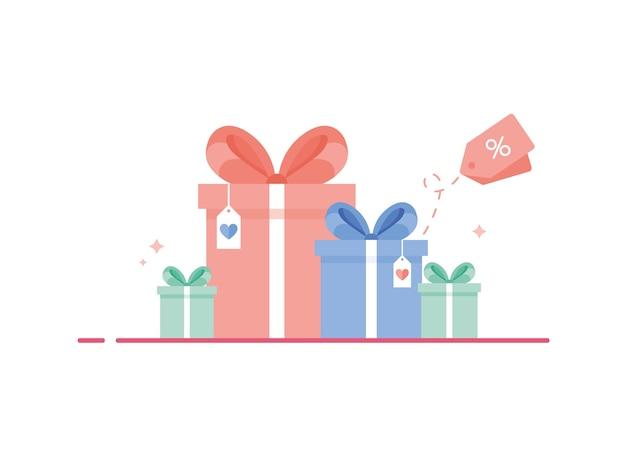 Farbige geschenkboxen mit band und schleife als kollektion zum geburtstag oder weihnachten. blau, pink und grün