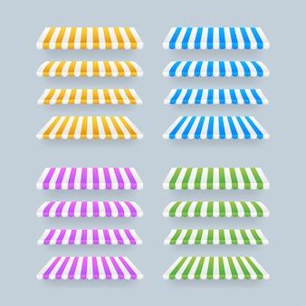 Farbige gestreifte markisen für geschäfte, restaurants und marktgeschäfte auf transparentem hintergrund. vektorgrafik auf lager.