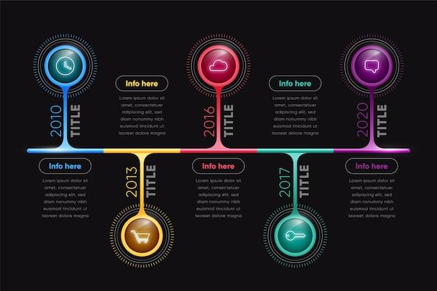 Farbige glänzende zeitleiste infografik