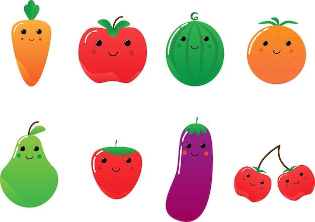 Farbige glückliche früchte vektorbirne erdbeere wassermelone aubergine orange kirsche apfel karotte