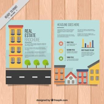 Farbige häuser immobilien broschüre