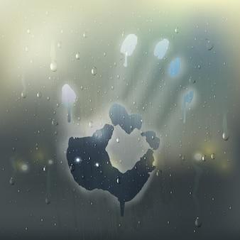 Farbige hand auf realistischer zusammensetzung des beschlagenen glases mit regenflecken und handprint auf dem fenster