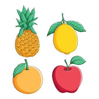 Farbige hand gezeichnete ananas-, zitronen-, orangen- und apfelfrucht auf weißem hintergrund