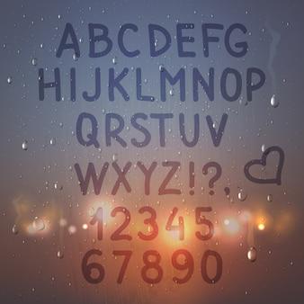 Farbige hand gezeichnetes realistisches alphabet und zahlen auf beschlagener glaszusammensetzung mit blitzlichtern
