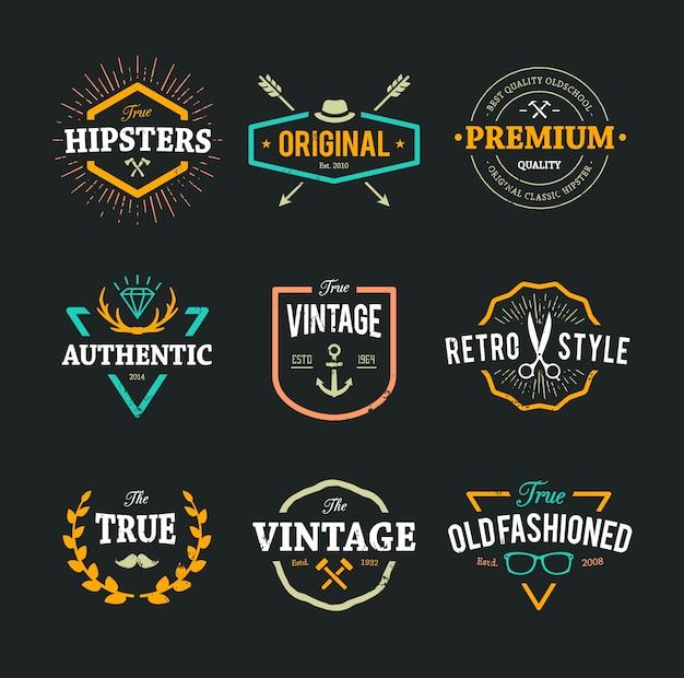 Farbige hipster-logo-sammlung