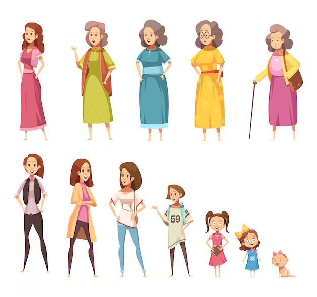 Farbige ikonen der frauengenerationsebene, die von allen alterskategorien von der kindheit bis zur reife eingestellt wurden, lokalisierten karikaturvektorillustration