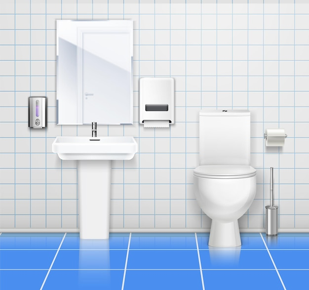 Farbige illustration des innenraums der öffentlichen toilette