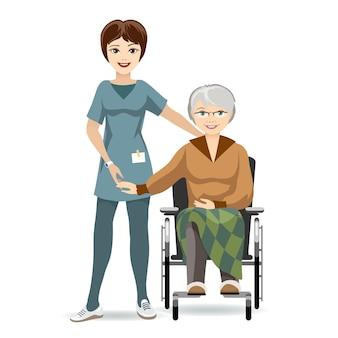 Farbige illustration seniorfrau, die auf rollstuhl mit pflegekraft sitzt. auf weißem hintergrund isoliert.
