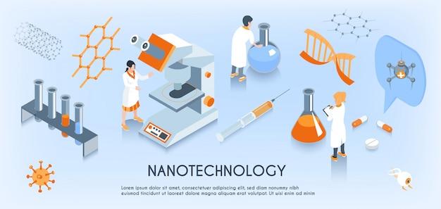 Farbige isometrische horizontale zusammensetzung der nanotechnologie mit arbeiten von wissenschaftlern im labor