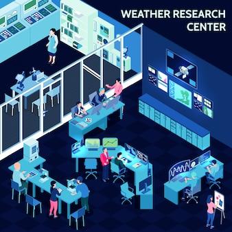 Farbige isometrische meteorologische wetterzentrumszusammensetzung mit büro in der art des offenen raumes
