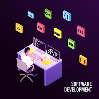 Farbige isometrische programmiererzusammensetzung mit softwareentwicklungsbeschreibung und mann sitzen auf arbeit
