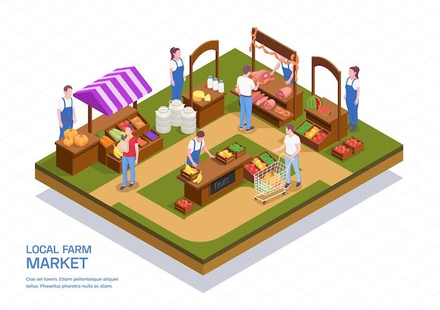 Farbige isometrische zusammensetzung mit bauern, die frisches fleisch, obstgemüse und milchprodukte auf der lokalen illustration des bauernhofmarktes 3d verkaufen