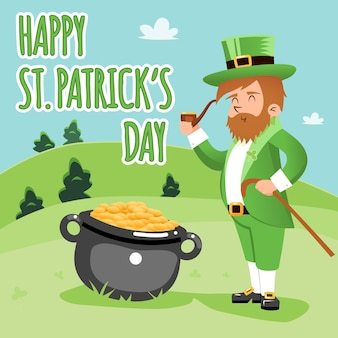 Farbige karikatur happy st. patrick day poster grafikdesign.
