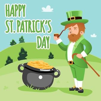 Farbige karikatur happy st. patrick day poster grafikdesign. Kostenlosen Vektoren