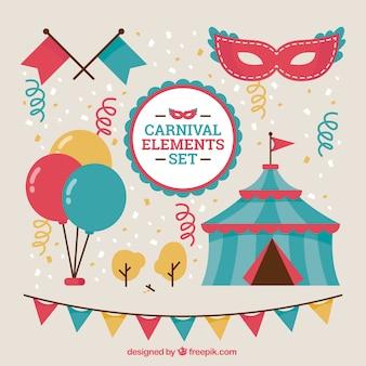 Farbige karneval elemente gesetzt