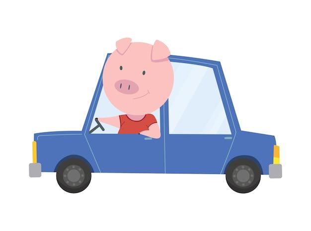 Farbige kinder transportieren mit niedlichen kleinen schwein oder schwein. tierfahrauto.