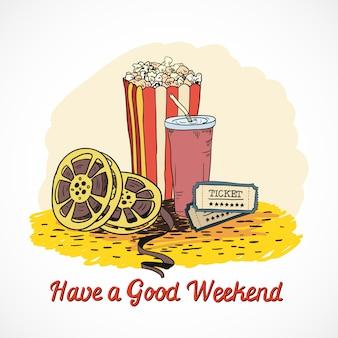 Farbige kino haben ein gutes wochenende konzept mit popcorn trinken kino streifen tickets doodle elemente vektor-illustration