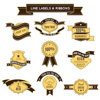 Farbige konzeptionelle abzeichen mit bändern in premium-qualität und 100-prozentigen garantiethemen