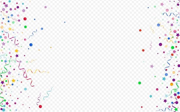 Farbige kreise karneval panorama transparenten hintergrund. papierband-design. spiralweihnachtspflanze. buntes glänzendes plakat.
