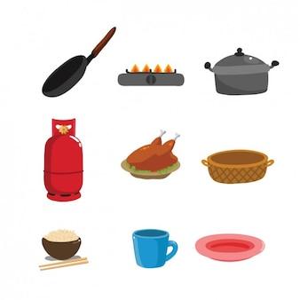 Farbige küchenutensilien sammlung