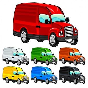 Farbige lieferwagen sammlung