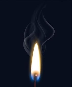 Farbige lokalisierte realistische brennende flammenrauchzusammensetzung mit realistischer matchflamme auf schwarzer hintergrundillustration