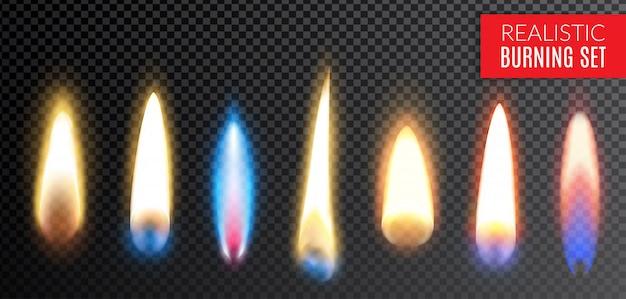 Farbige lokalisierte realistische brennende transparente ikone stellte mit verschiedenen farben und formen der flammenillustration ein