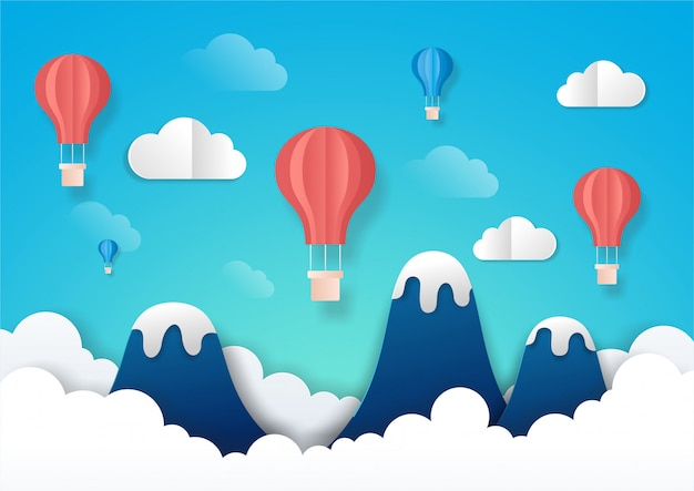 Farbige luftballons schweben über dem berg