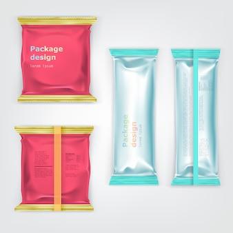 Farbige markenfolien lebensmittelpakete vektor-set
