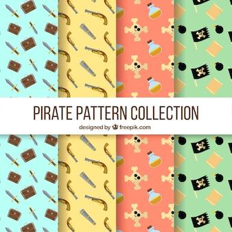 Farbige muster mit verschiedenen piratenartikeln