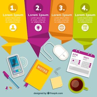Farbige origami banner mit arbeitsplatz infografik