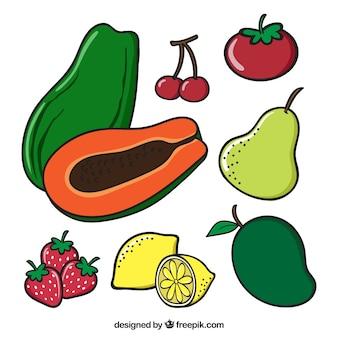 Farbige packung mit verschiedenen früchten