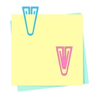 Farbige papiernotizen mit plastikbüroklammern. sammlung von schul- und bürobedarf. flache vektorillustration lokalisiert auf weißem hintergrund