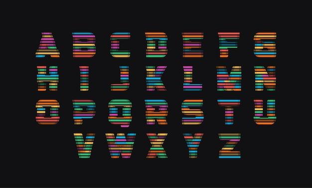 Farbige parkettvektorbuchstaben eingestellt. retro bunte gläser alphabet-stil. lustige vektorschrift von farbigen schnittlinien. typografie-design