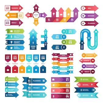 Farbige pfeile für geschäftsdarstellungen, sammlung infographic elemente