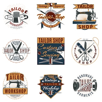 Farbige premium tailor shop logos set
