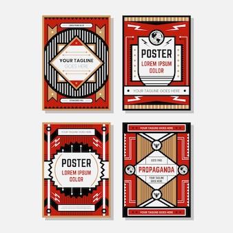 Farbige propagandaplakat-designschablonensammlungen