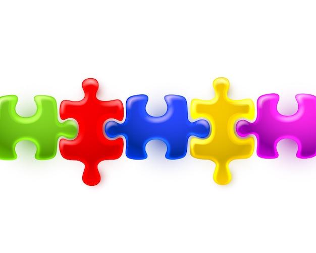 Farbige puzzleteile auf weiß