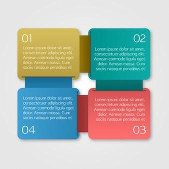 Farbige quadrate infografik-vorlage