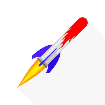 Farbige raketenschiffikone im flachen design lokalisiert auf weiß