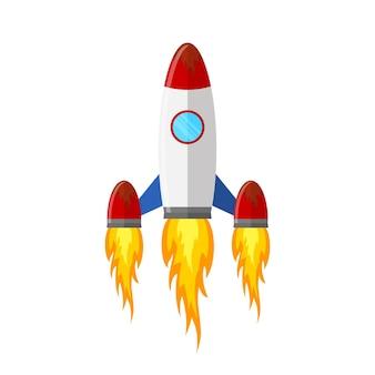 Farbige raketenschiffikone im flachen design