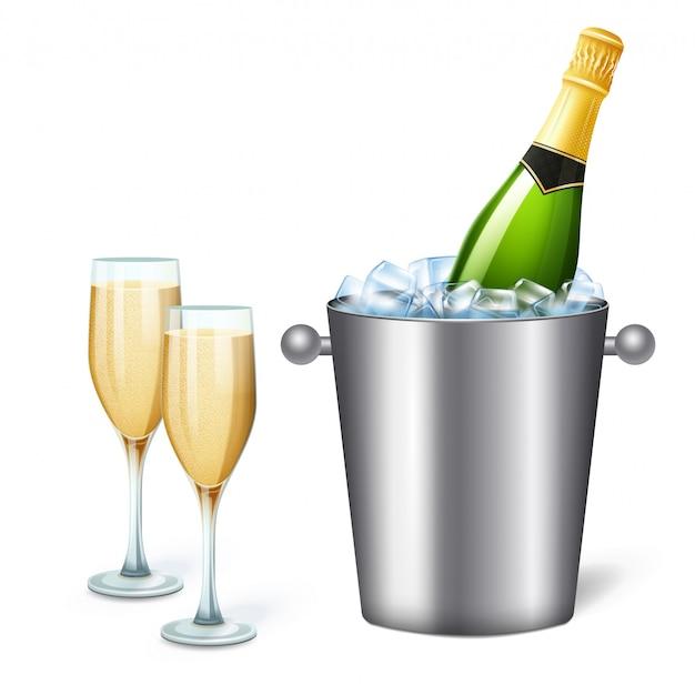 Farbige realistische champagnerkübelzusammensetzung mit illustration des kalten champagners und zwei vollen gläsern