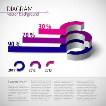 Farbige realistische diagrammvorlage mit textfeldern und prozentualem verhältnis in lila farbe