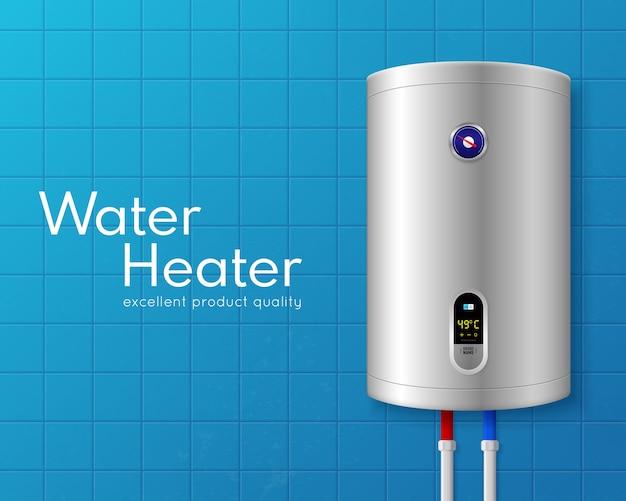 Farbige realistische elektrische warmwasserbereiter-kesselillustration mit großer weißer überschrift und auf hellblauer wand